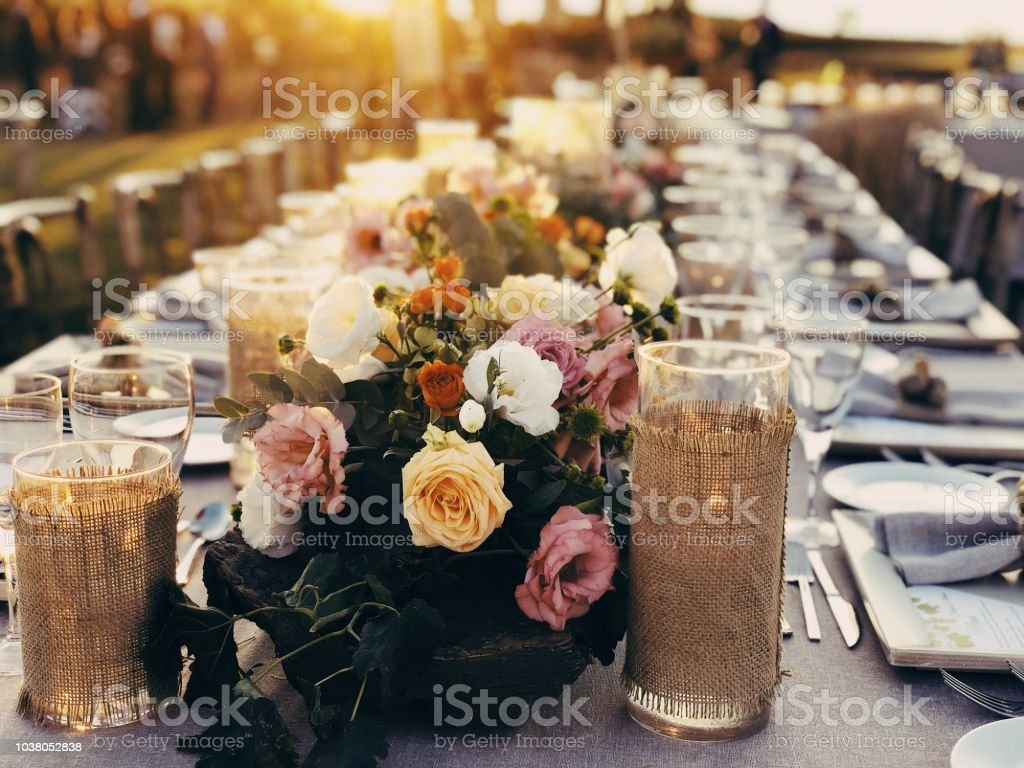 Enchanting Wedding ceremony setting at sunset stock photo