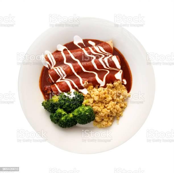 Enchiladas W Sosie Czerwonym - zdjęcia stockowe i więcej obrazów Enchilada