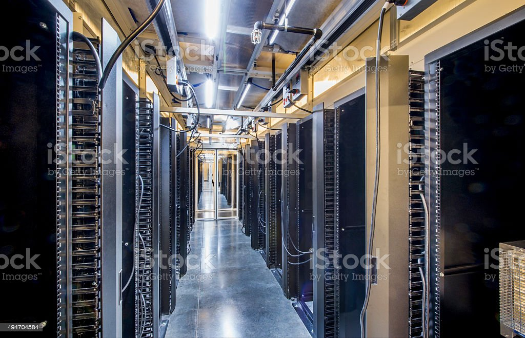 Enclosed Server Aisle stock photo