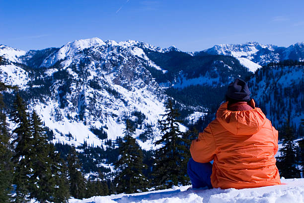 encompassed by nature the mountaineer goes wow stock photo