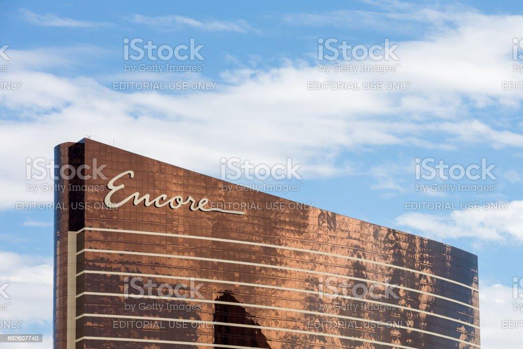 Encore Hotel in Las Vegas with Blue Sky stock photo