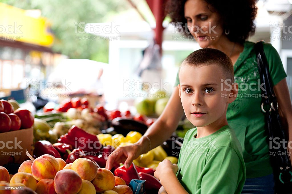 Encountering fresh fruits, shopping at the Farmers Market  royalty-free stock photo