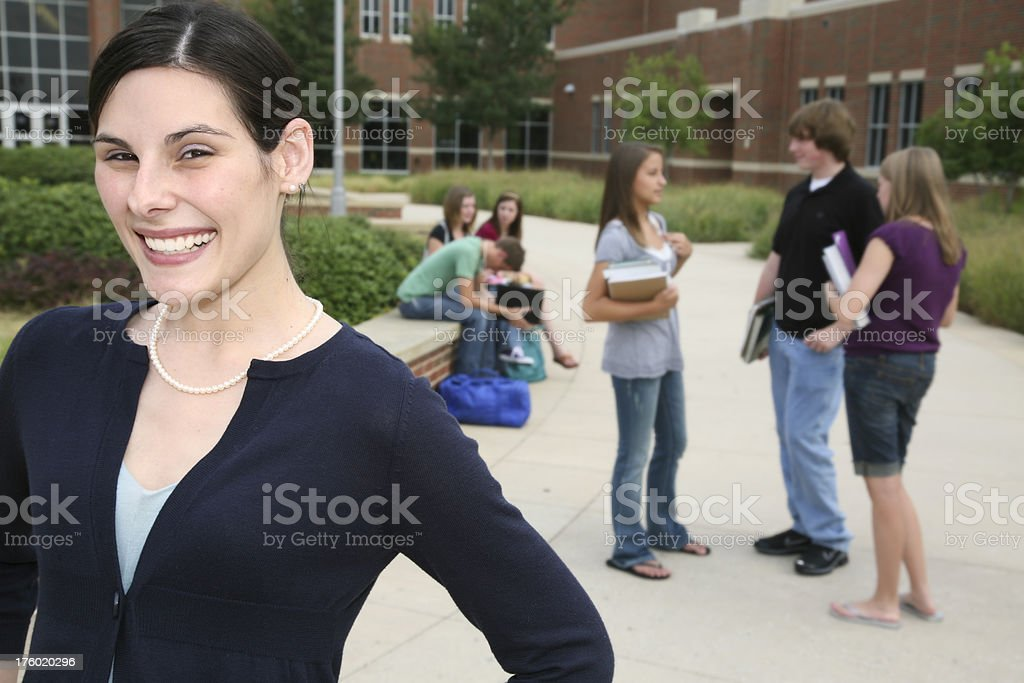 Encouraged Teacher at the Beginning of School royalty-free stock photo