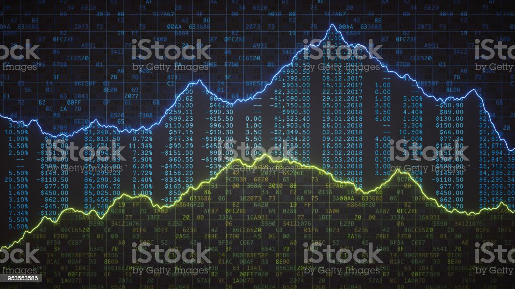 Encrypted spreadsheet with financial figures and graph royalty-free stock photo
