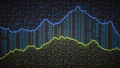 A front view on multiple spreadsheets containing binary computer data, financial figures and graph lines.\n\nThis image represents a conceptual design in the domain of IT, business, data mining or cyberspace and is a made up concept render.
