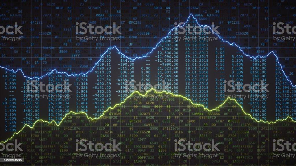 Verschlüsselte Tabellenkalkulation mit Finanzzahlen und Grafik – Foto