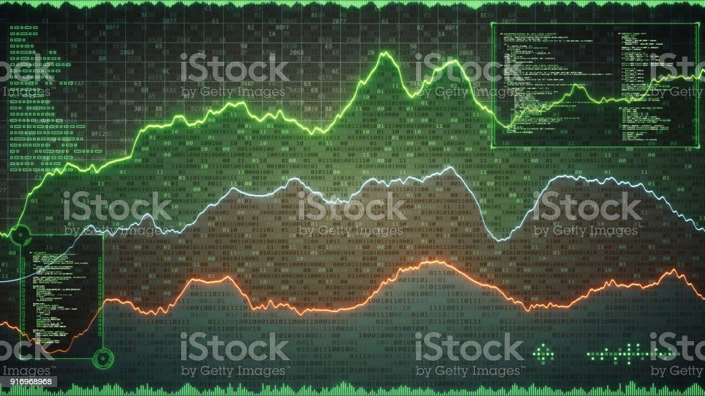Encrypted spreadsheet with graph lines and info graphic stock photo