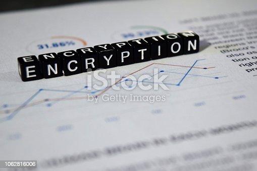 istock Encryption on wooden blocks. 1062816006