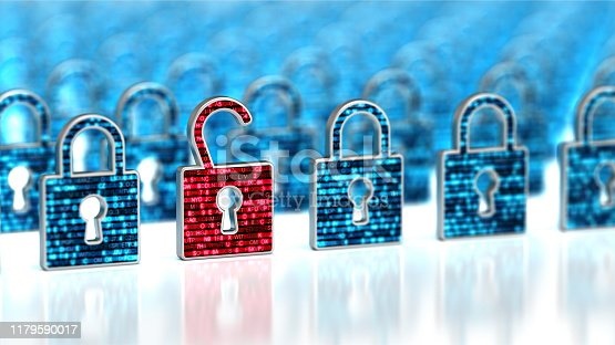 Encryption your data. Digital Lock. Hacker attack and data breach. Big data with encrypted computer code. Safe your data. Cyber internet security and privacy concept. Database storage 3d illustration on the white background