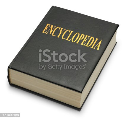 Close up of an encyclopedia on white background