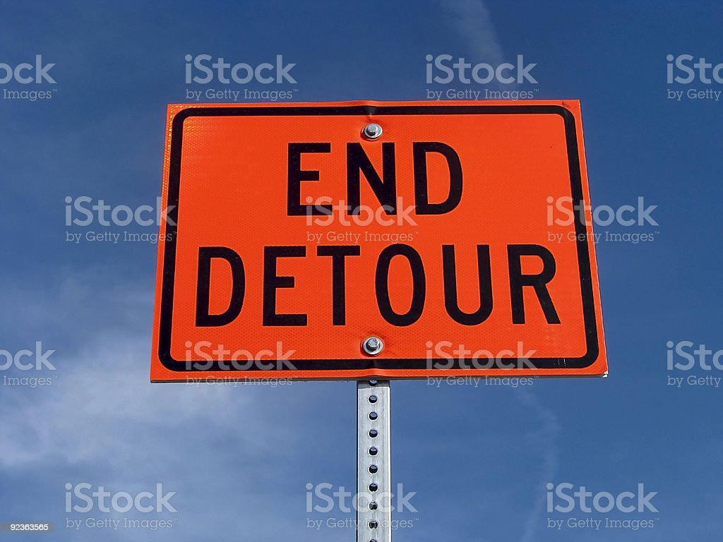 End detour traffic sign. royalty-free stock photo