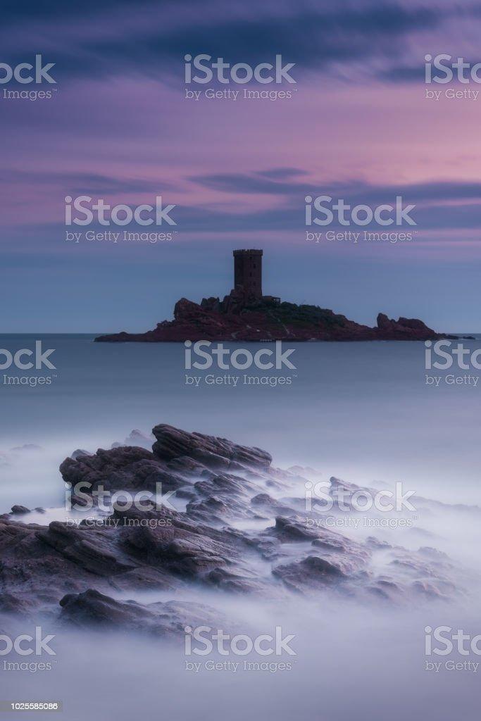 fin d'un coucher de soleil autour de l'ile d'or (cap dramont) - Photo