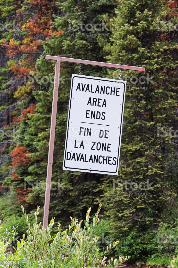 A end of avalanche area information sign stock photo
