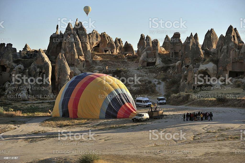 End  of balloon trip in Cappadocia royalty-free stock photo