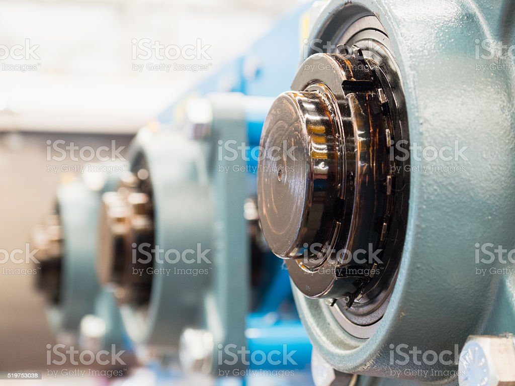 End of drive shafts with bearings stock photo
