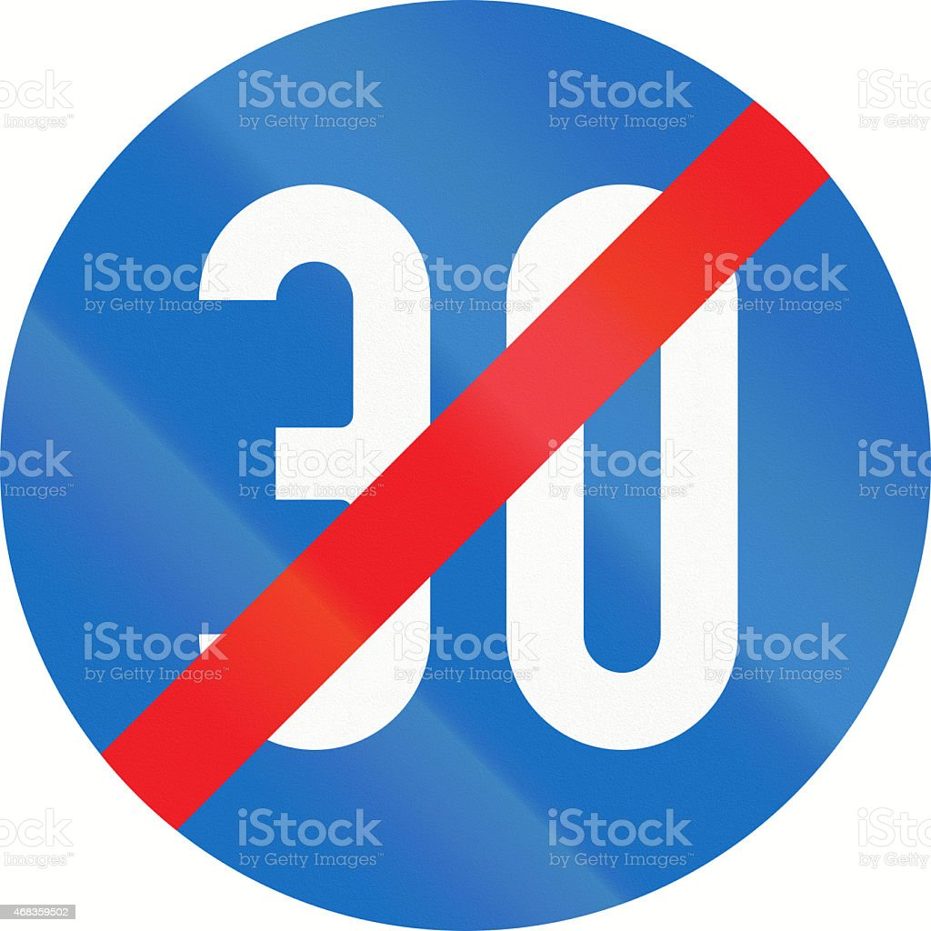 End Of Minimum Speed 30 in Austria royalty-free stock photo