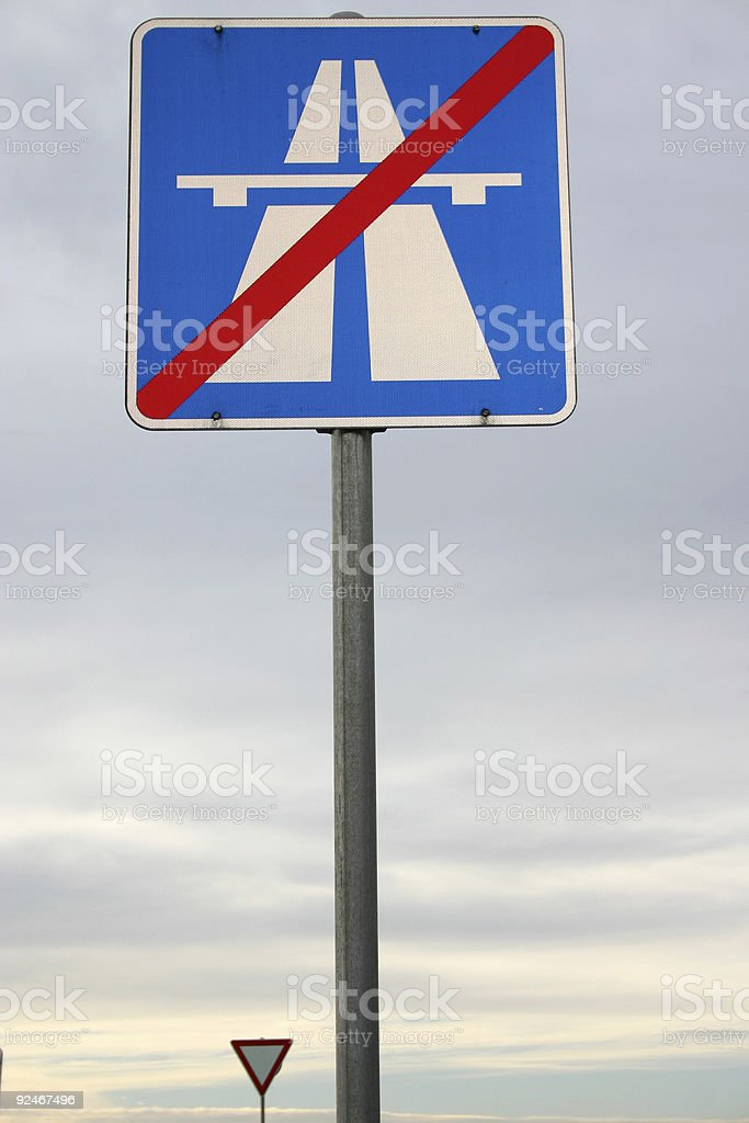 end of motor-way sign royalty-free stock photo