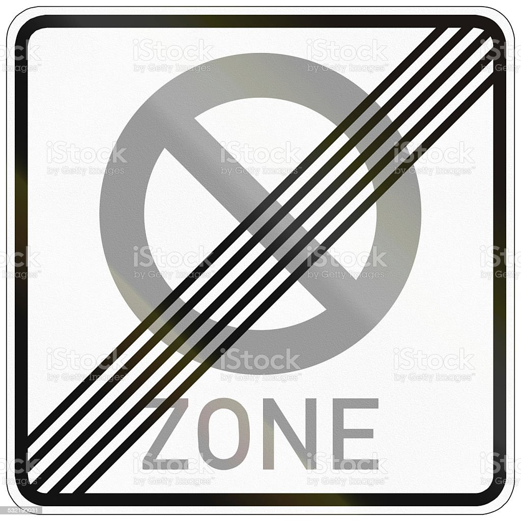End Of No Parking Zone stock photo