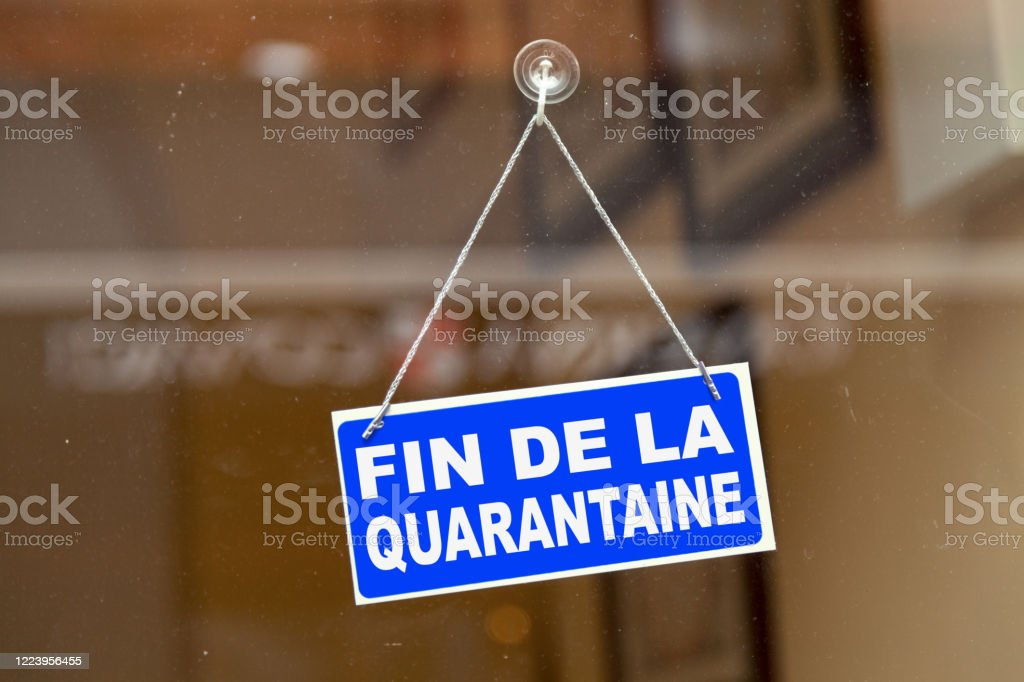 End of quarantine - French open sign - Royalty-free Bacterium Stock Photo