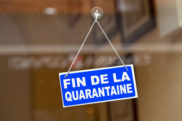 End of quarantine - French open sign stock photo