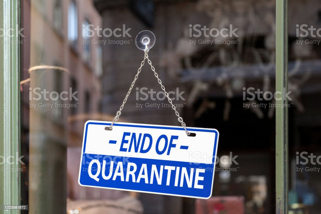 End of quarantine - Open sign - Royalty-free Bacterium Stock Photo