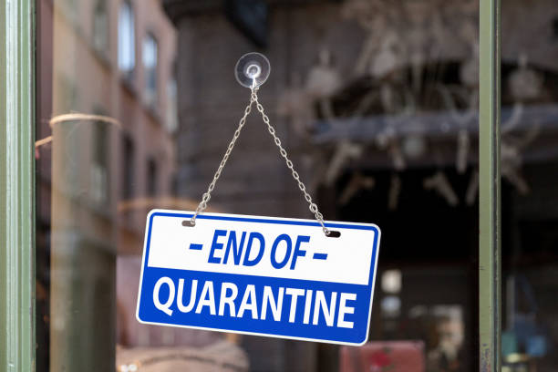 End of quarantine - Open sign stock photo