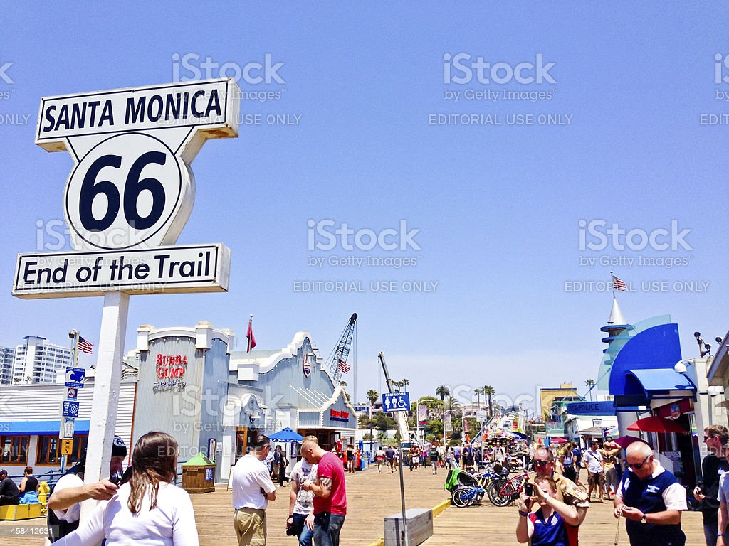 End of Route 66 on Santa Monica Pier royalty-free stock photo