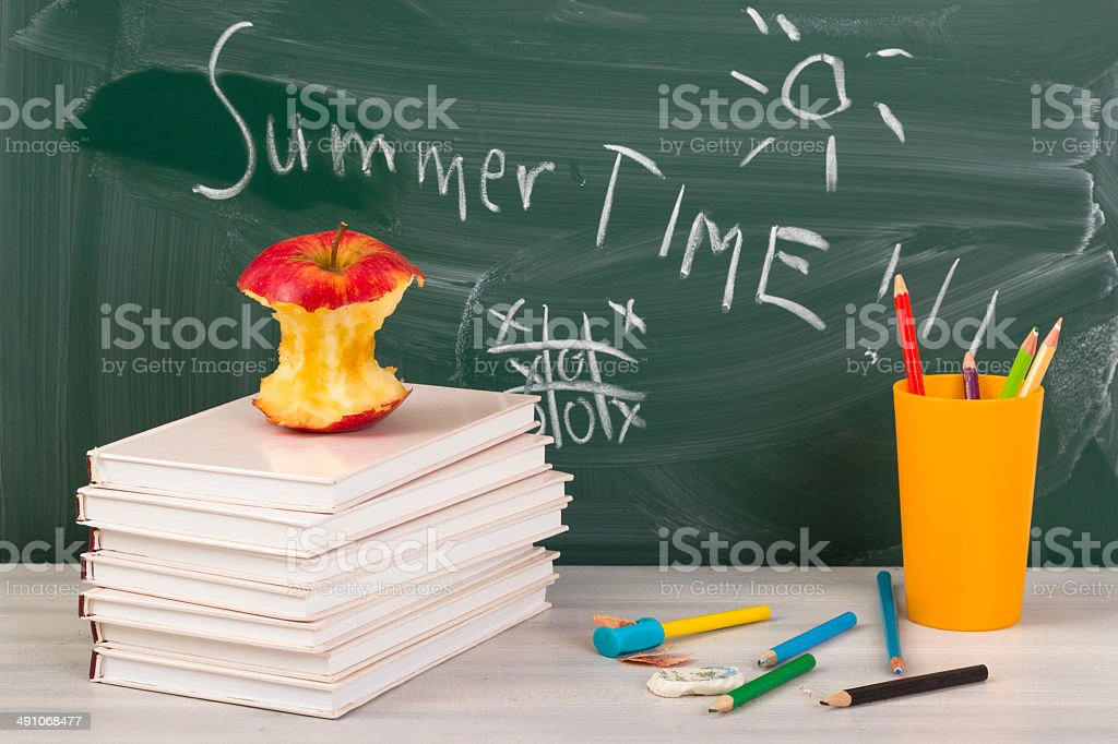 End of school. Summer break time. stock photo