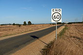 A typical Australian road sign in the countryside on a warm sunny day on a b road.