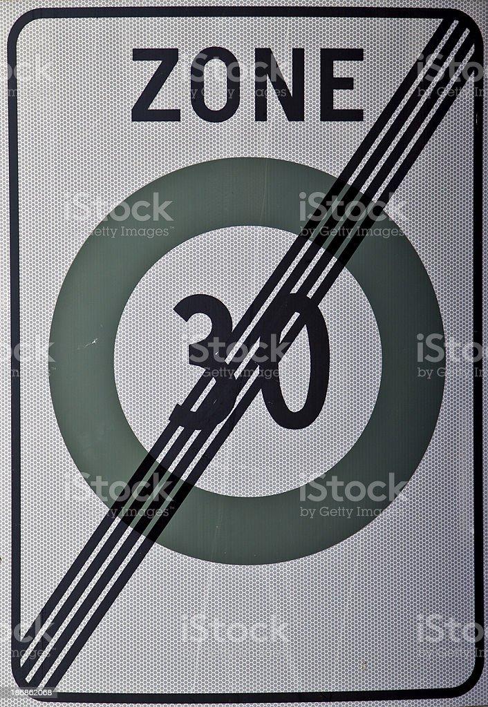 End of Speedlimit Zone 30 stock photo