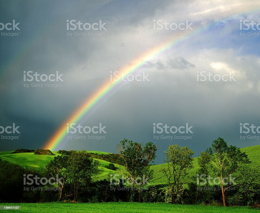 End of the rainbow stock photo
