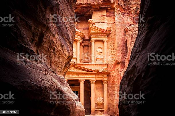 "The end of the Siq, with its dramatic view of Al Khazneh (""The Treasury"")"