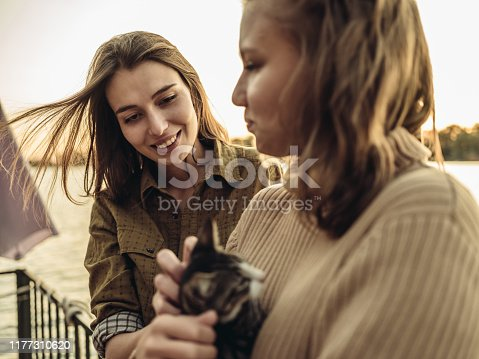 Two Millennial women  playing with small cat while having fun at the deck of houseboat. End of the summer weekend party.