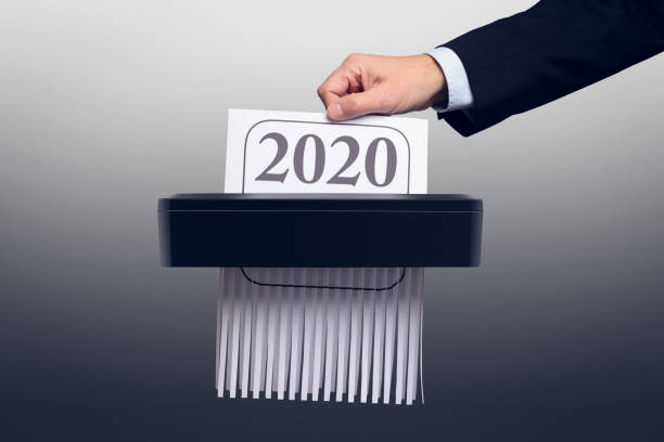 End of Year 2020 in the Paper Shredder stock photo