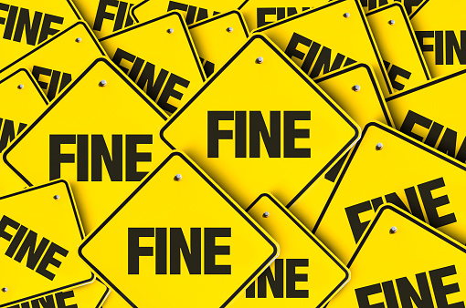 Fine road sign