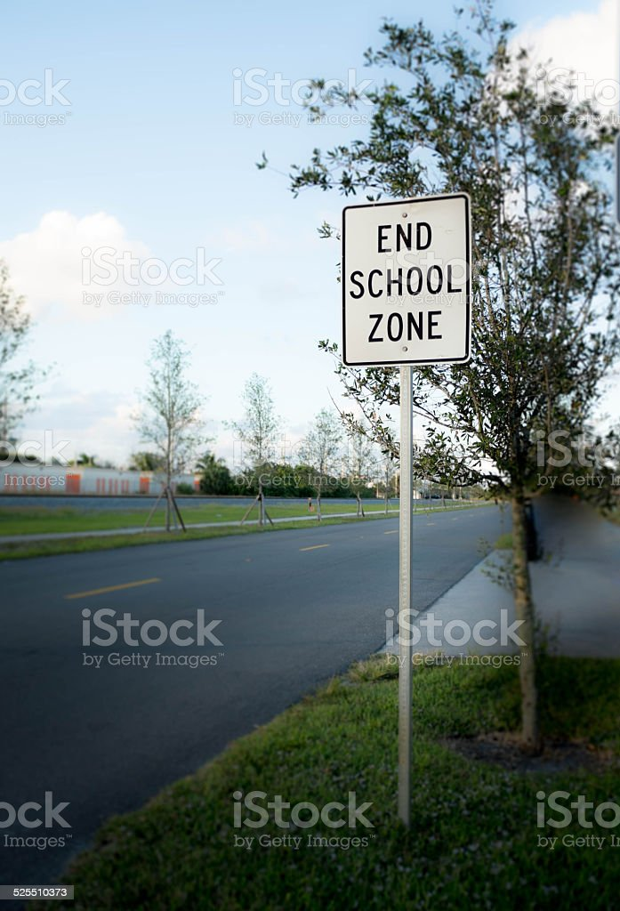End School Zone Sign stock photo