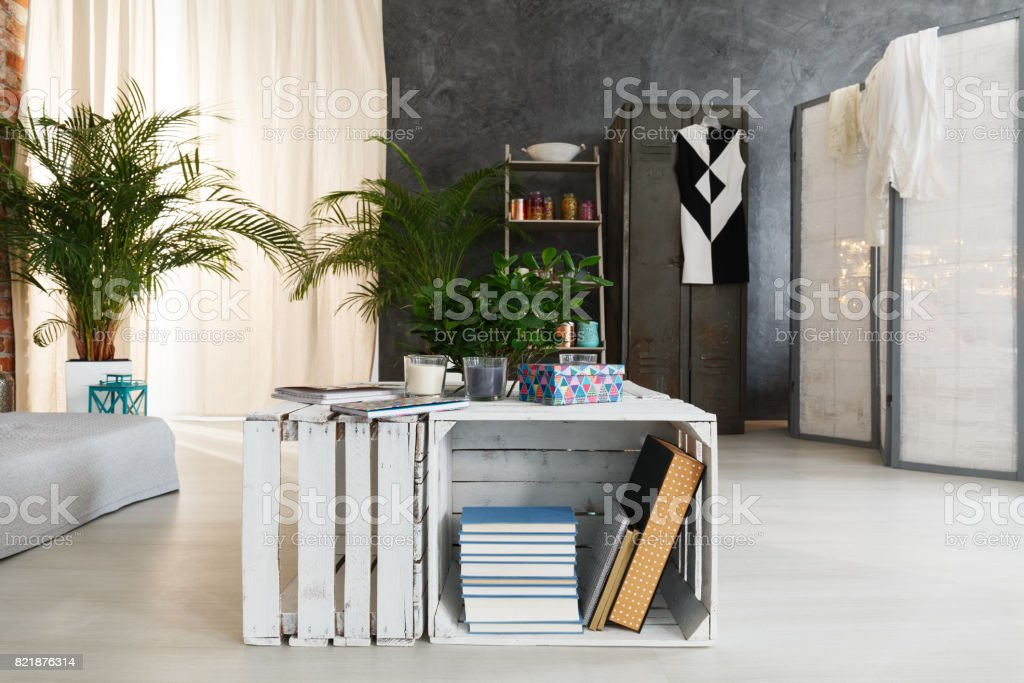 End table in loft stock photo