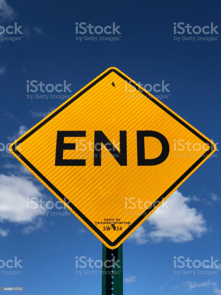 End Traffic sign stock photo