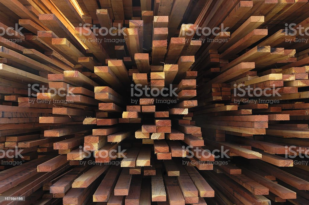 End View of a Stack of Just Milled Redwood Lumber royalty-free stock photo