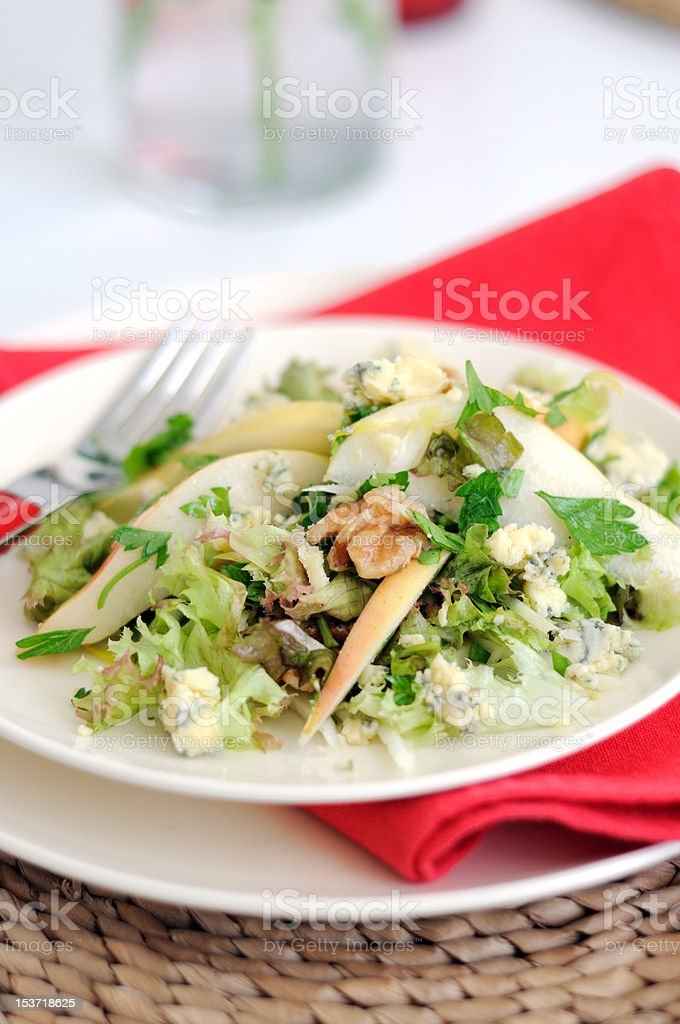 Endive Salad with Blue Cheese, Pears and Walnuts royalty-free stock photo