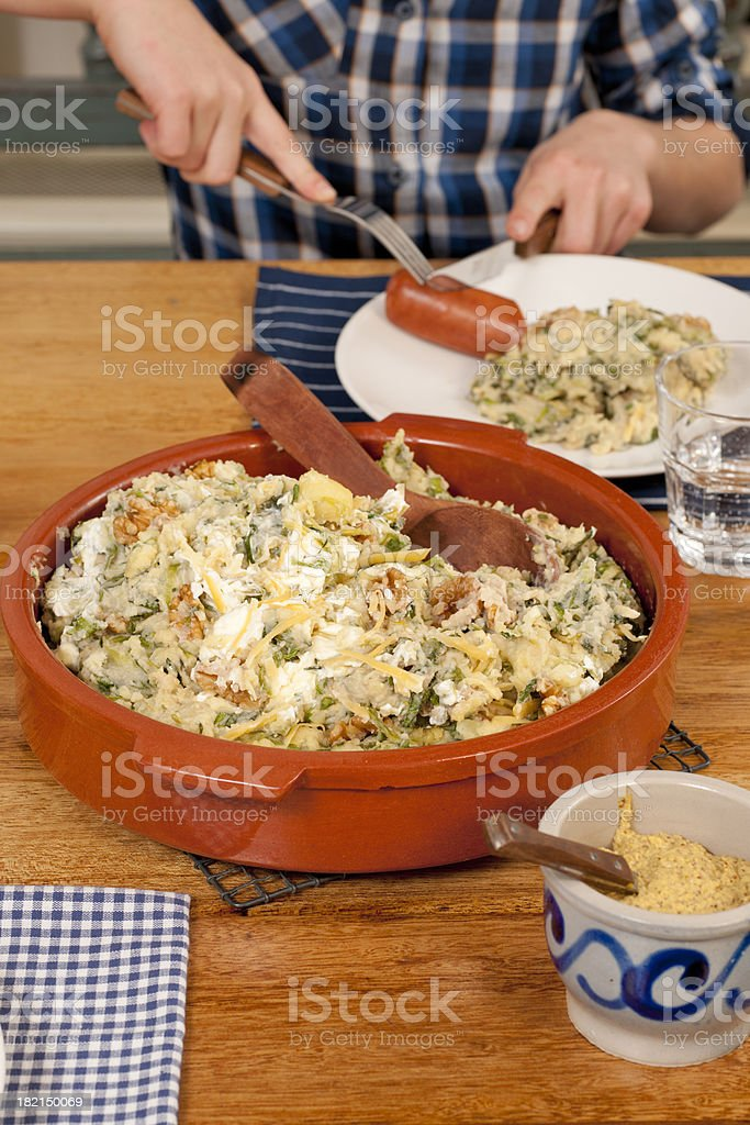 endive stew with sausage royalty-free stock photo