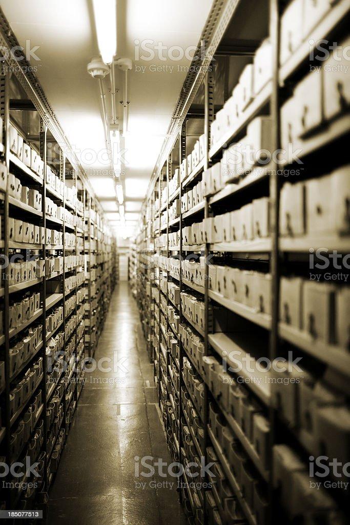 Endless basement storage stock photo