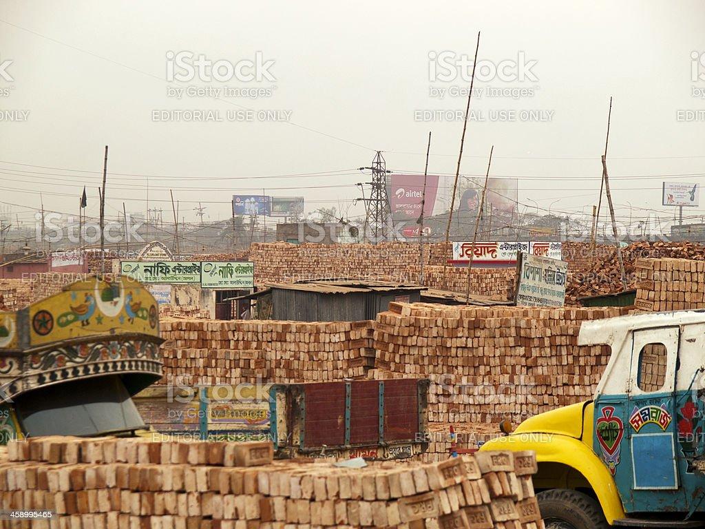 Endless Brick fields in Bangladesh royalty-free stock photo