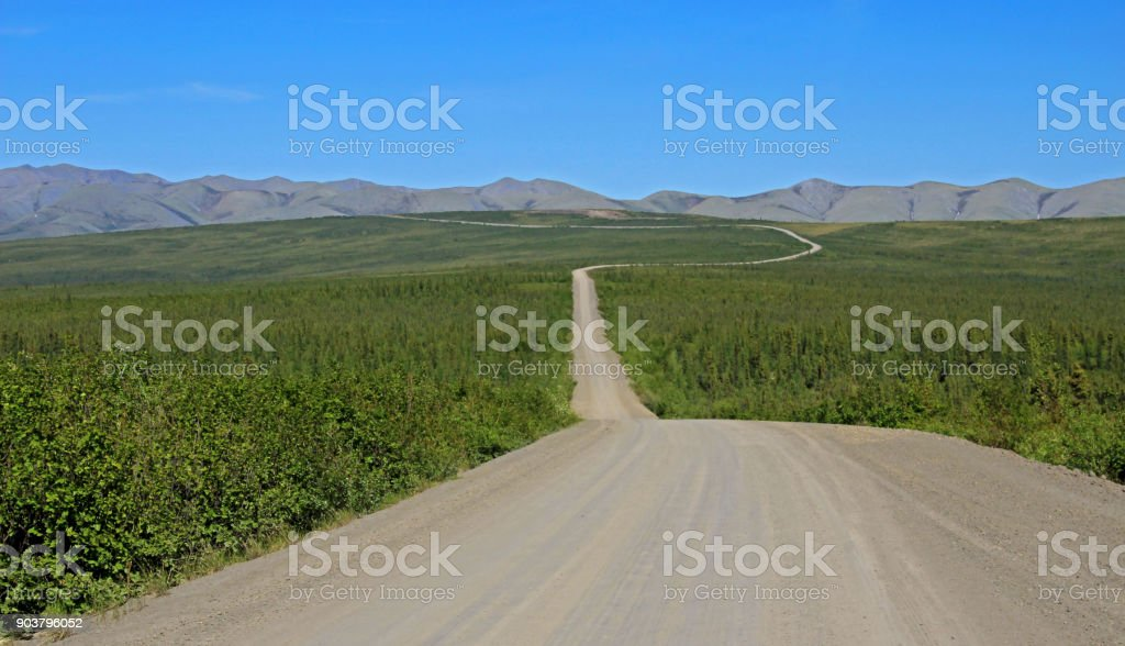 Endless Dempster Highway near the arctic circle, Canada stock photo