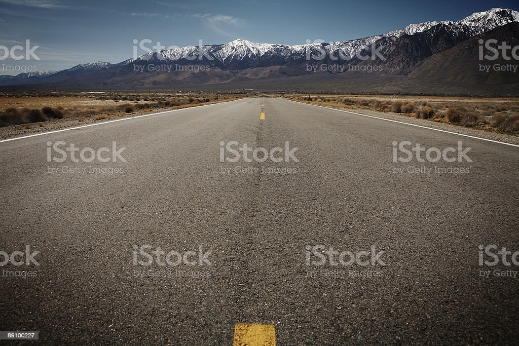 Endless Desert Road outside Death Valley royalty-free stock photo