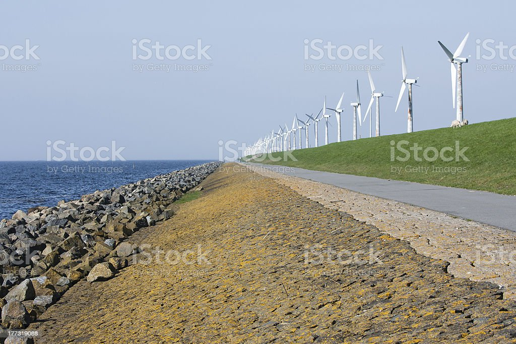 Endless dike with windmills in the Netherlands stock photo