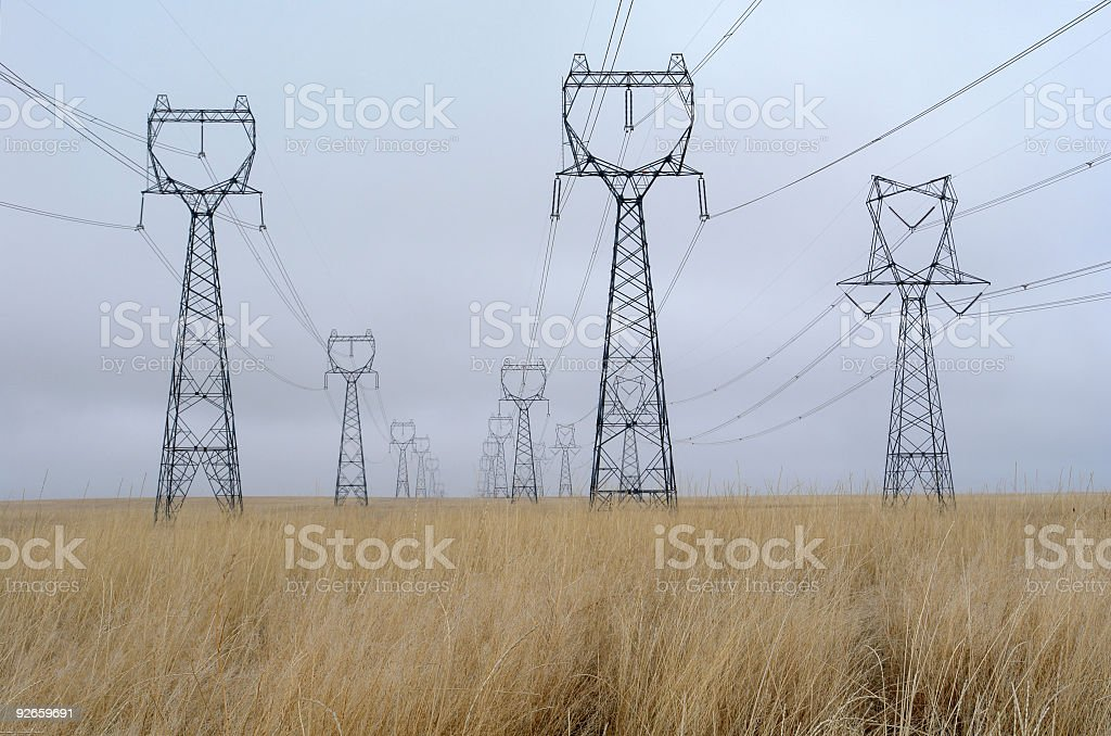 Endless High Voltage Electrical Towers In A Wheat Field royalty-free stock photo