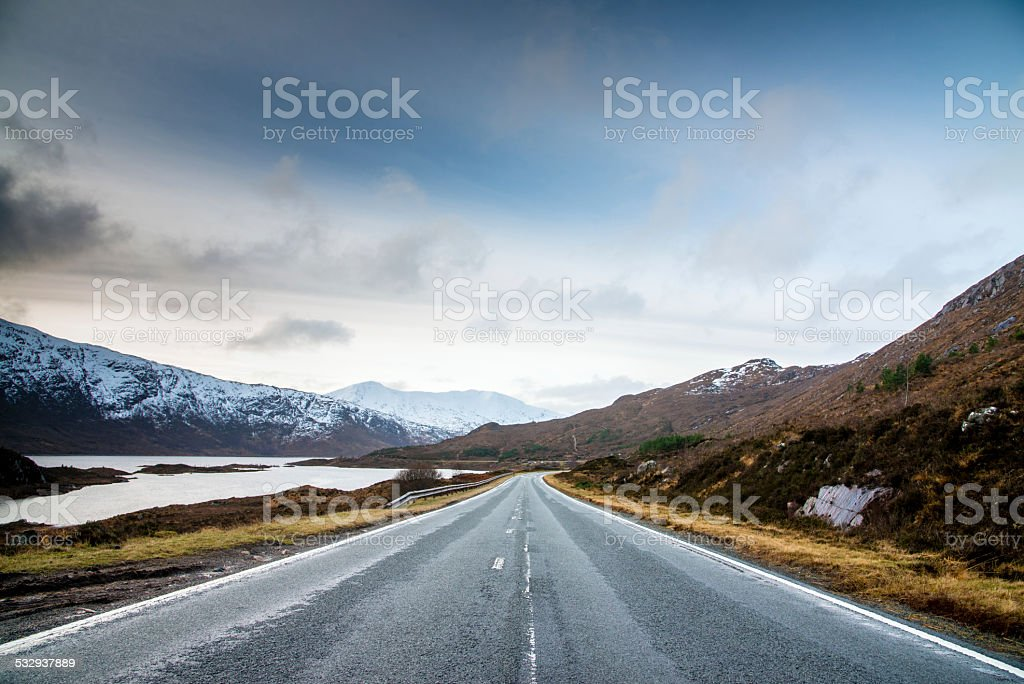 Endless Highway to Isle of Skye Scotland Highlands stock photo
