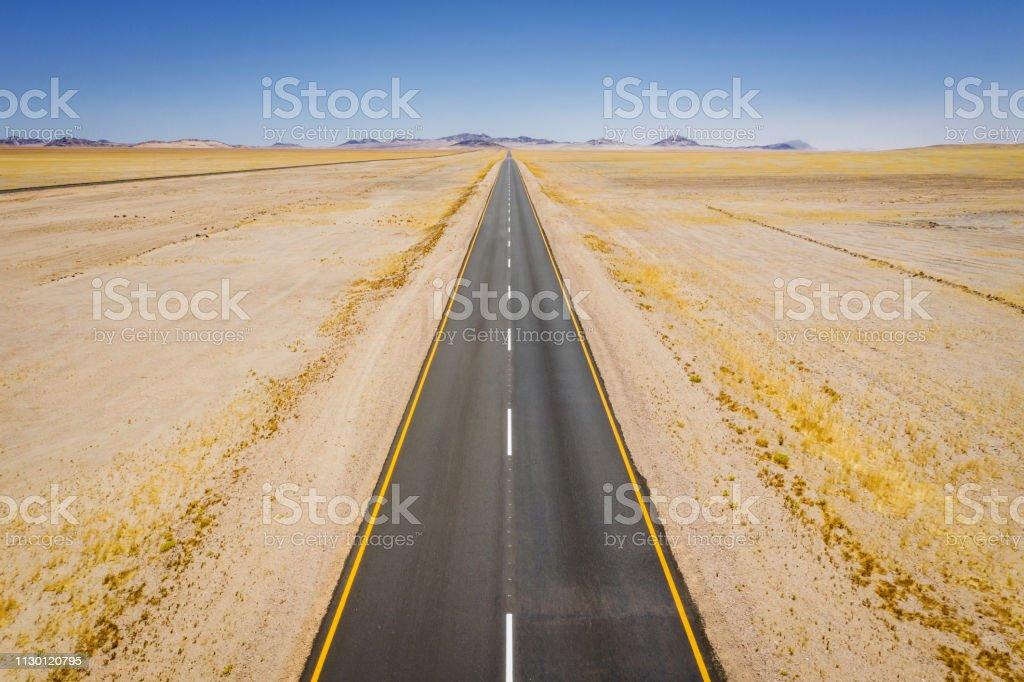 Endless Highway to the Horizon Namibia Road Trip stock photo