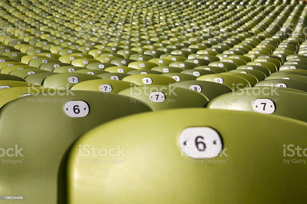 endless large group of seats - olymic soccer stadium munich stock photo